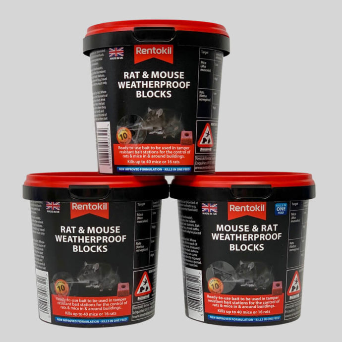 3 tubs of mouse and rat weatherproof blocks